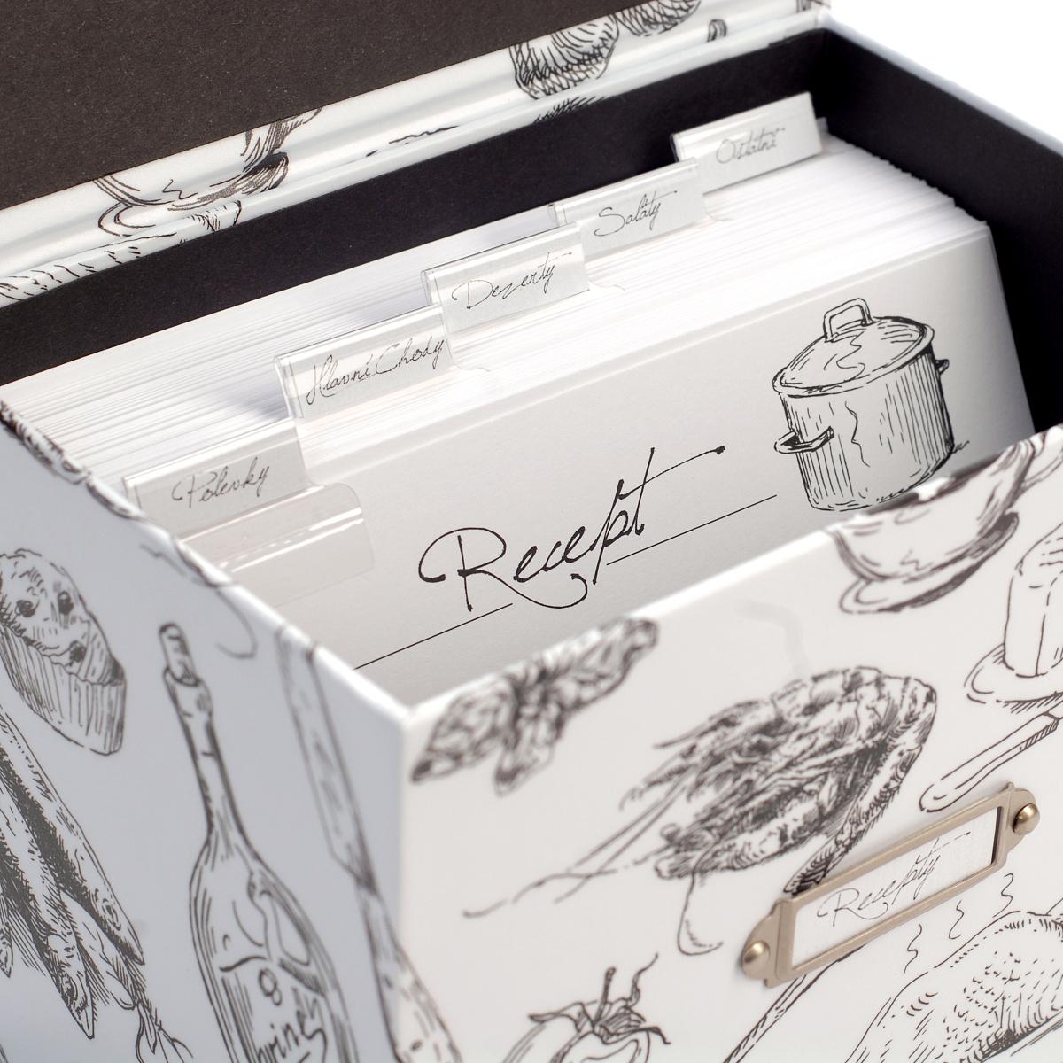 Receptář Black & White - krabička na recepty