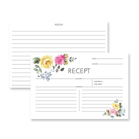 Kartičky na recepty Rose 50 ks